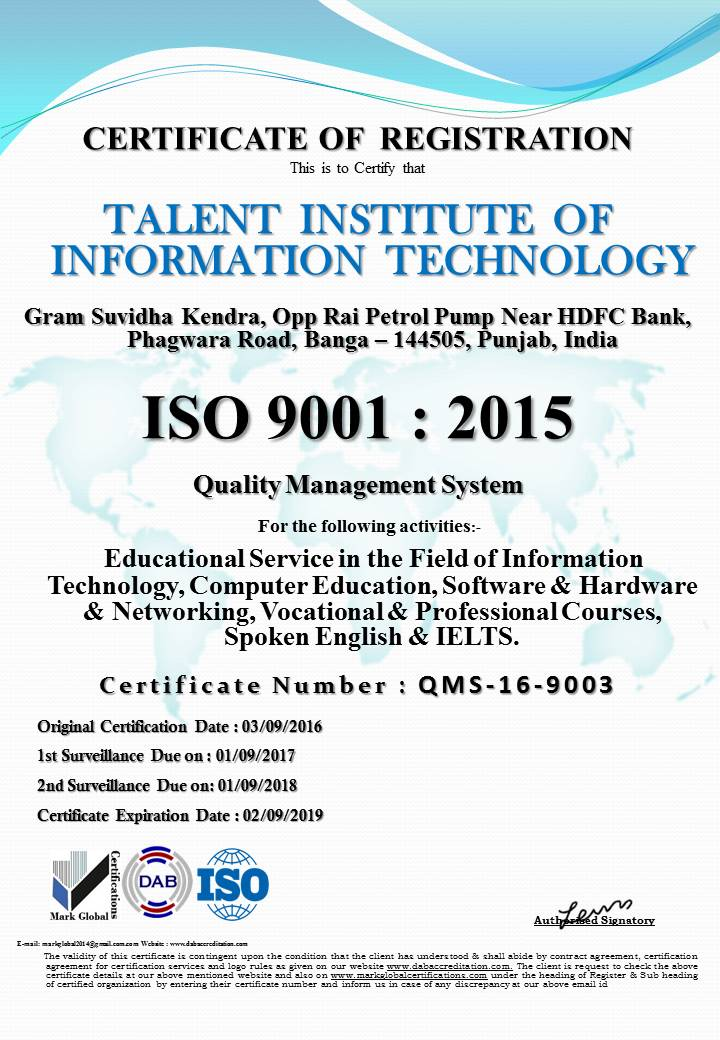 TiiT Banga : Certifications